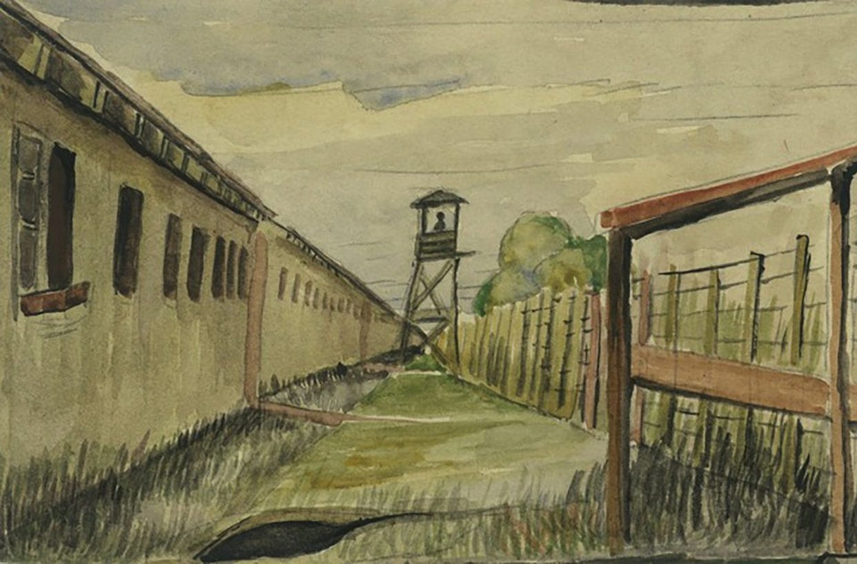 "Takuichi Fujii, ""Puyallup, 'In the north: looking in the direction of the front gate from the back,;"" watercolor on paper; from the Sandy and Terry Kita Collection. (Courtesy of Barbara Johns)"